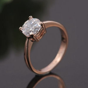 Rose gold plated 7 mm solitaire CZ ring Multi Size